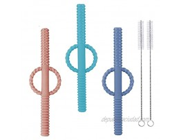 3 Pieces Teething Tubes Hollow Teether Toys with Safety Shield for Sensory Exploration and Teething Relief Safe Chewing Tubes for Babies Infants & Toddlers Designed