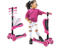 Hurtle 3 Wheeled Scooter for Kids 2-in-1 Sit Stand Child Toddlers Toy Kick Scooters w Flip-Out Seat Adjustable Height Wide Deck Flashing Wheel Lights for Boys Girls 1 Year Old HURFS66.5