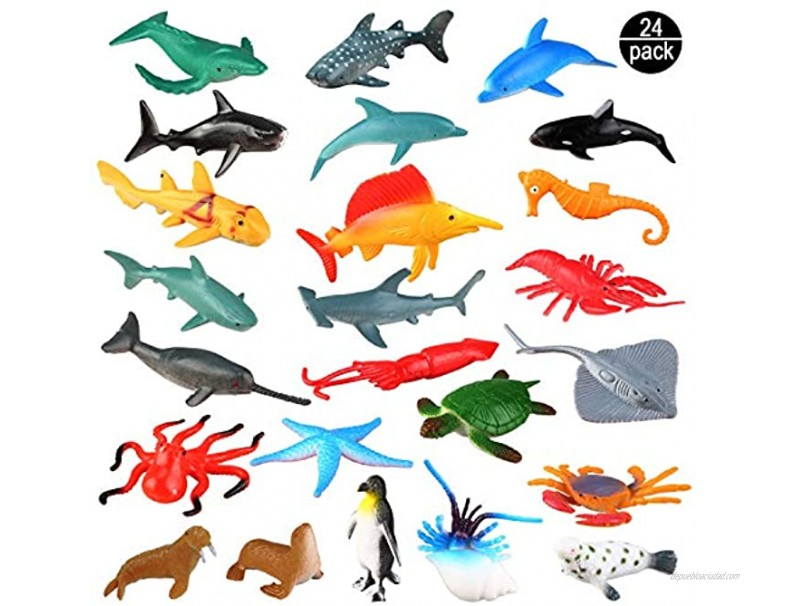 Sea Ocean Animals Plastic Pool Toys Set 24 Pack for Party Favor Supplies Display Model Play Set Realistic Deep Sea Animal Figures Birthday Gifts with Turtle Octopus Shark for Children Education